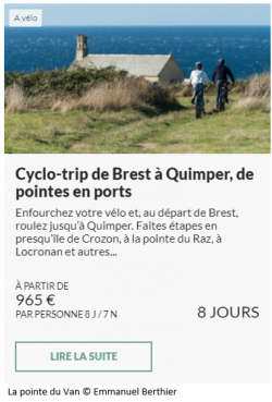 Offre séjour Cyclo trip de Brest à Quimper